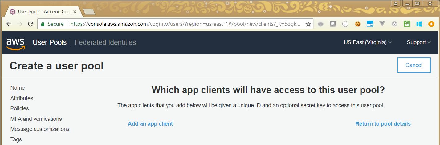 Things Ian Says :: AWS Cognito User Pool